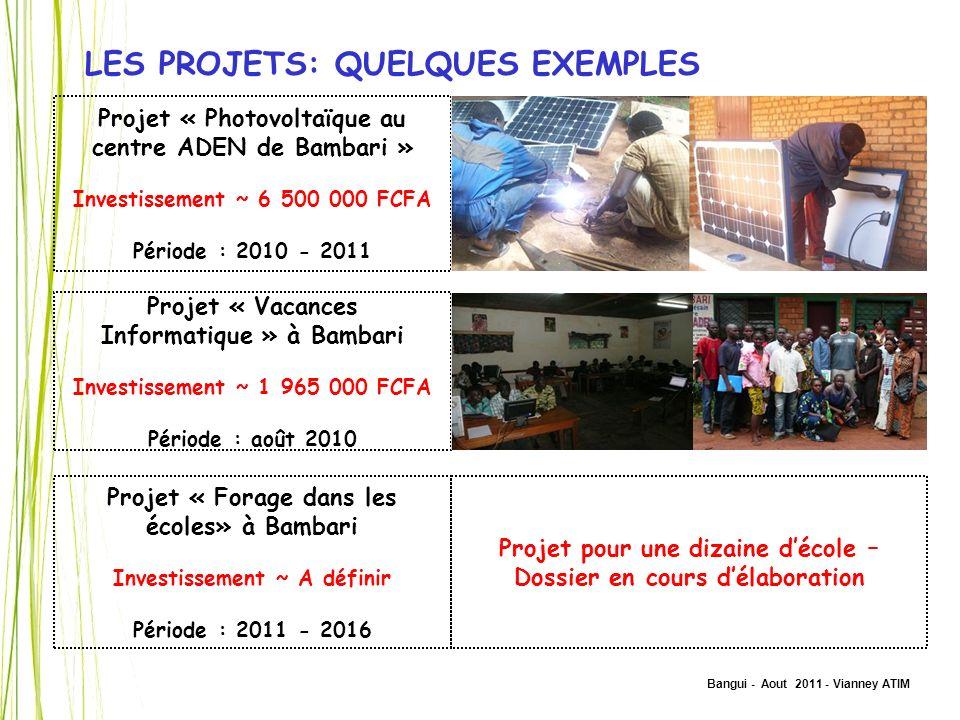 Bangui - Aout 2011 - Vianney ATIM LES PROJETS: QUELQUES EXEMPLES Projet « Photovoltaïque au centre ADEN de Bambari » Investissement ~ 6 500 000 FCFA P