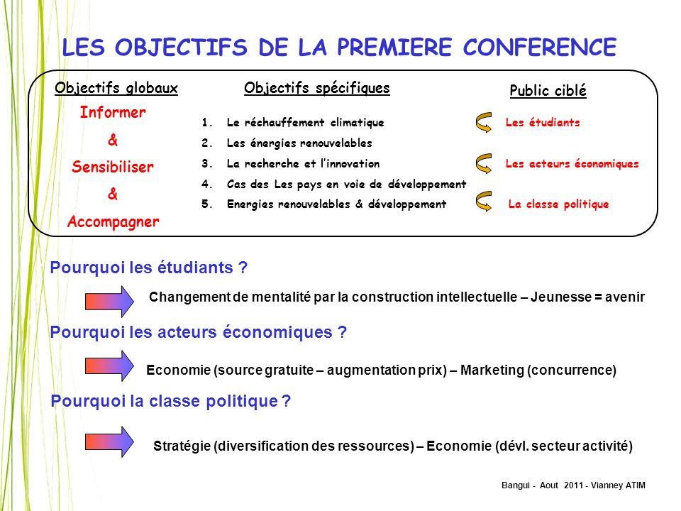 Bangui - Aout 2011 - Vianney ATIM LES OBJECTIFS DE LA PREMIERE CONFERENCE Objectifs globauxObjectifs spécifiques 1.Le réchauffement climatique 2.Les é