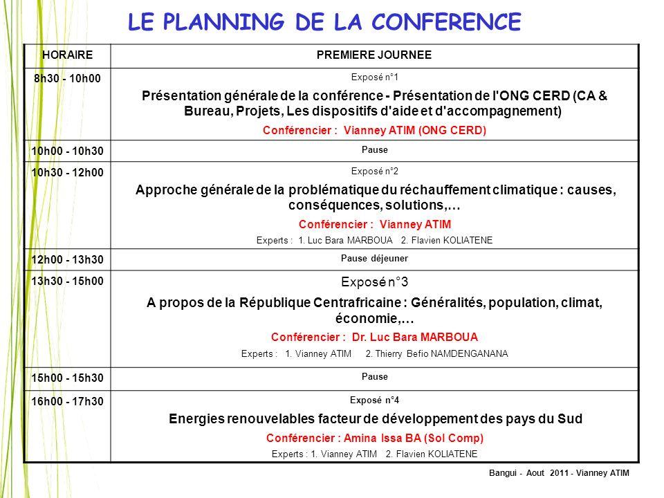 Bangui - Aout 2011 - Vianney ATIM HORAIREPREMIERE JOURNEE 8h30 - 10h00 Exposé n°1 Présentation générale de la conférence - Présentation de l'ONG CERD