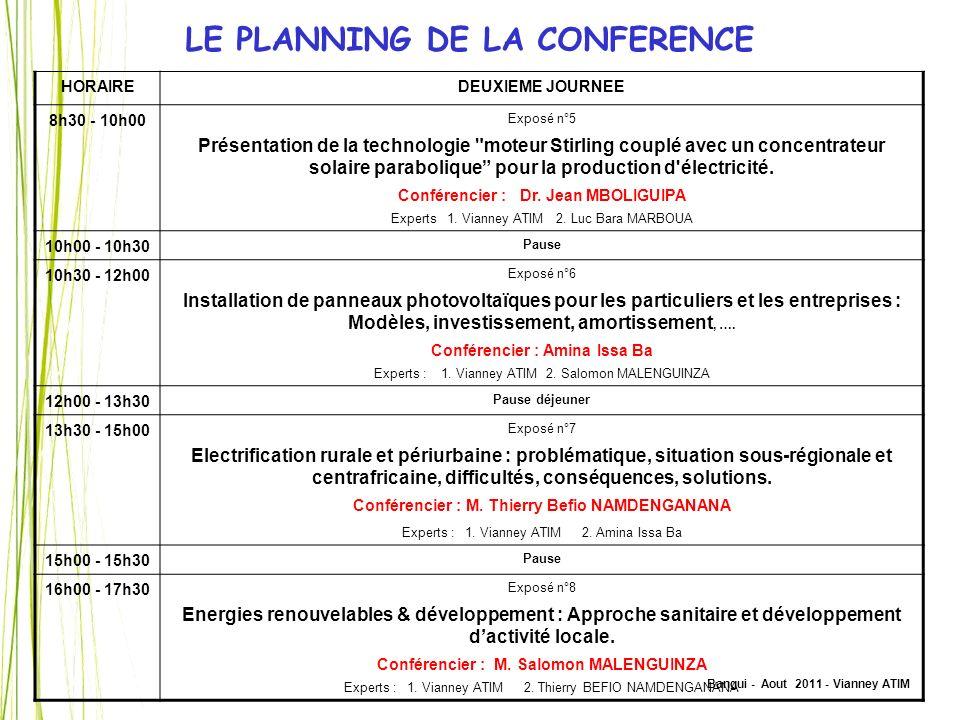 Bangui - Aout 2011 - Vianney ATIM LE PLANNING DE LA CONFERENCE HORAIREDEUXIEME JOURNEE 8h30 - 10h00 Exposé n°5 Présentation de la technologie
