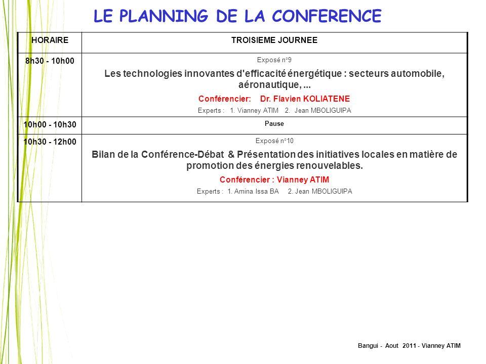 Bangui - Aout 2011 - Vianney ATIM LE PLANNING DE LA CONFERENCE HORAIRETROISIEME JOURNEE 8h30 - 10h00 Exposé n°9 Les technologies innovantes d'efficaci
