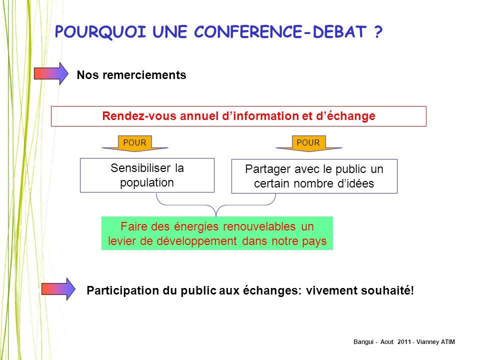 Bangui - Aout 2011 - Vianney ATIM POURQUOI UNE CONFERENCE-DEBAT ? Nos remerciements POUR Rendez-vous annuel dinformation et déchange Sensibiliser la p