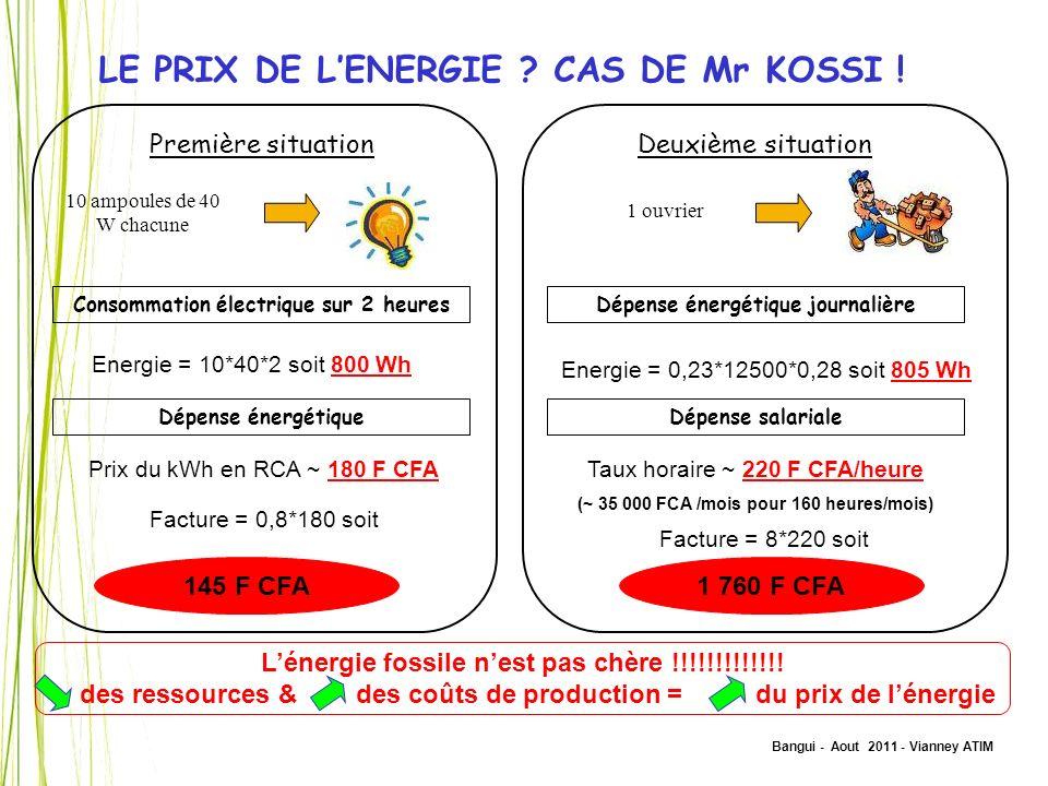 Bangui - Aout 2011 - Vianney ATIM LE PRIX DE LENERGIE ? CAS DE Mr KOSSI ! Première situation 10 ampoules de 40 W chacune Consommation électrique sur 2