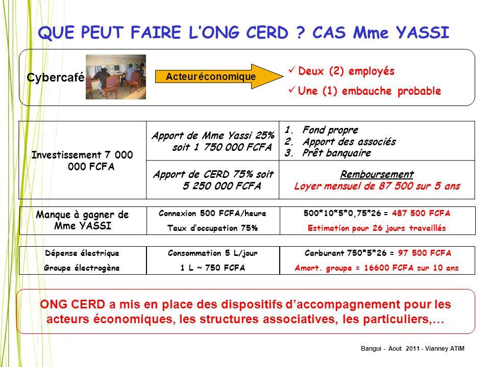 Bangui - Aout 2011 - Vianney ATIM QUE PEUT FAIRE LONG CERD ? CAS Mme YASSI Cybercafé Acteur économique Deux (2) employés Une (1) embauche probable Man