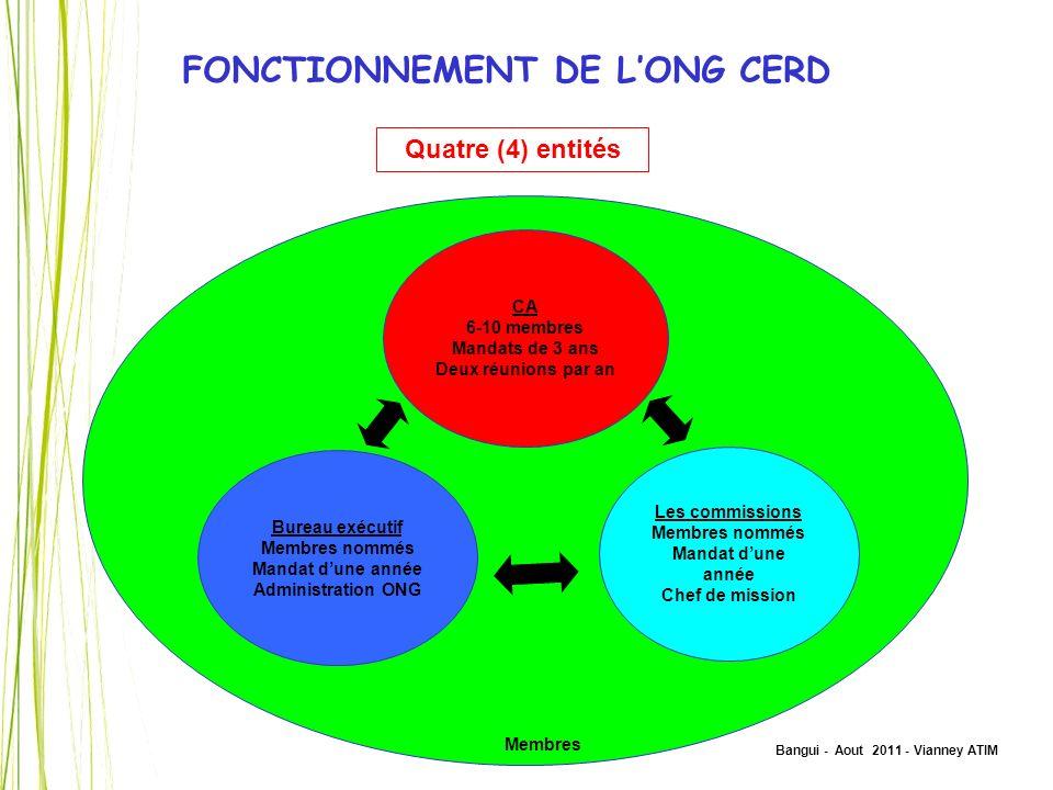 Bangui - Aout 2011 - Vianney ATIM FONCTIONNEMENT DE LONG CERD Quatre (4) entités CA 6-10 membres Mandats de 3 ans Deux réunions par an Bureau exécutif
