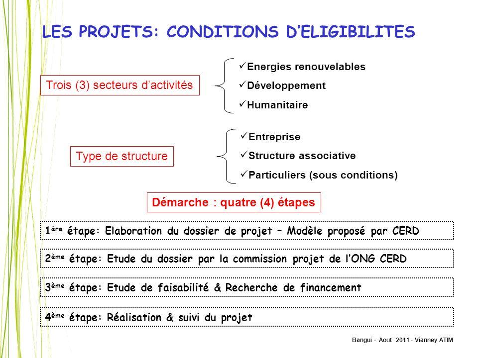 Bangui - Aout 2011 - Vianney ATIM LES PROJETS: CONDITIONS DELIGIBILITES Trois (3) secteurs dactivités Energies renouvelables Développement Humanitaire
