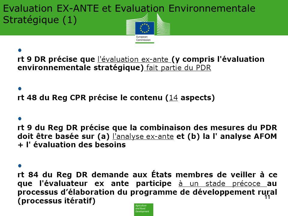 A rt 9 DR précise que l évaluation ex-ante (y compris l évaluation environnementale stratégique) fait partie du PDR A rt 48 du Reg CPR précise le contenu (14 aspects) A rt 9 du Reg DR précise que la combinaison des mesures du PDR doit être basée sur (a) l analyse ex-ante et (b) la l analyse AFOM + l évaluation des besoins A rt 84 du Reg DR demande aux États membres de veiller à ce que l évaluateur ex ante participe à un stade précoce au processus délaboration du programme de développement rural (processus itératif) S ection 3 du template du PDR (SFC2014) demande une synthèse de l évaluation 11 Evaluation EX-ANTE et Evaluation Environnementale Stratégique (1)