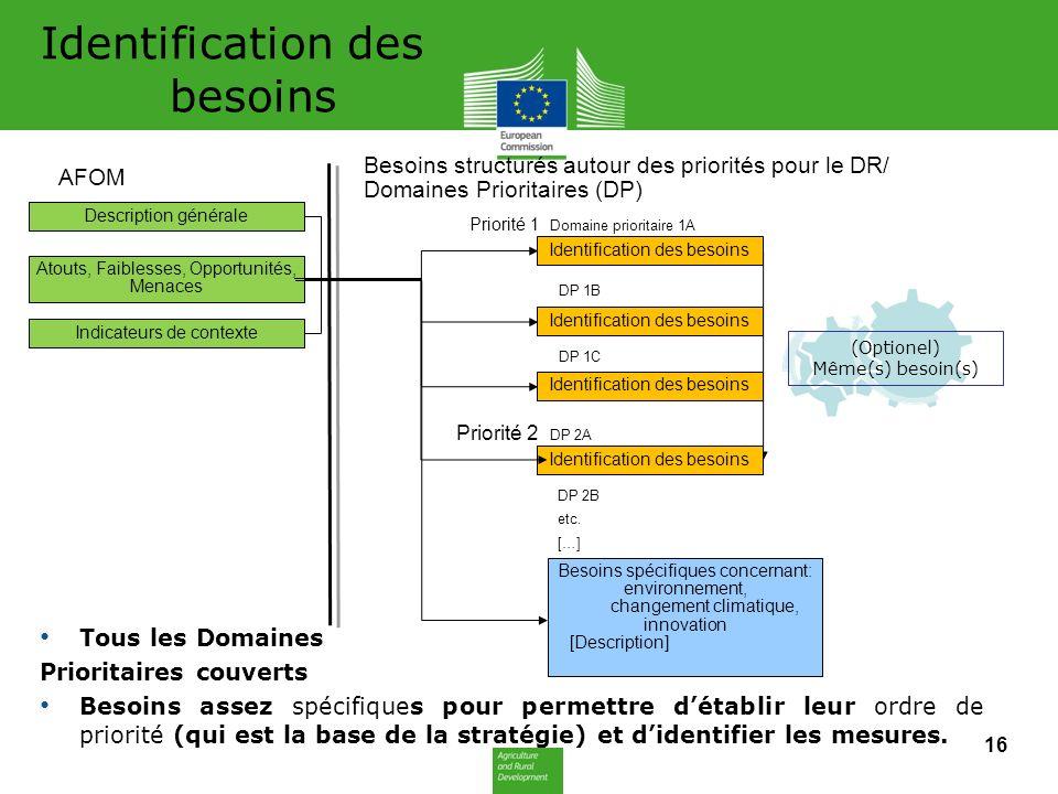 Identification des besoins Tous les Domaines Prioritaires couverts Besoins assez spécifiques pour permettre détablir leur ordre de priorité (qui est la base de la stratégie) et didentifier les mesures.