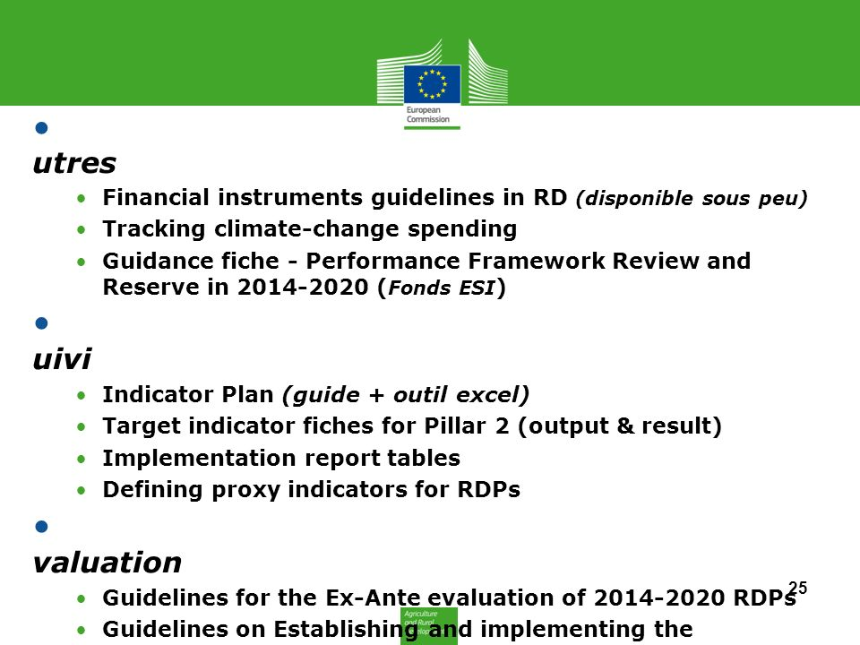 A utres Financial instruments guidelines in RD (disponible sous peu) Tracking climate-change spending Guidance fiche - Performance Framework Review an
