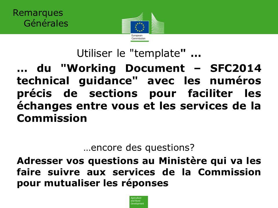 Remarques Générales Utiliser le template … … du Working Document – SFC2014 technical guidance avec les numéros précis de sections pour faciliter les échanges entre vous et les services de la Commission …encore des questions.