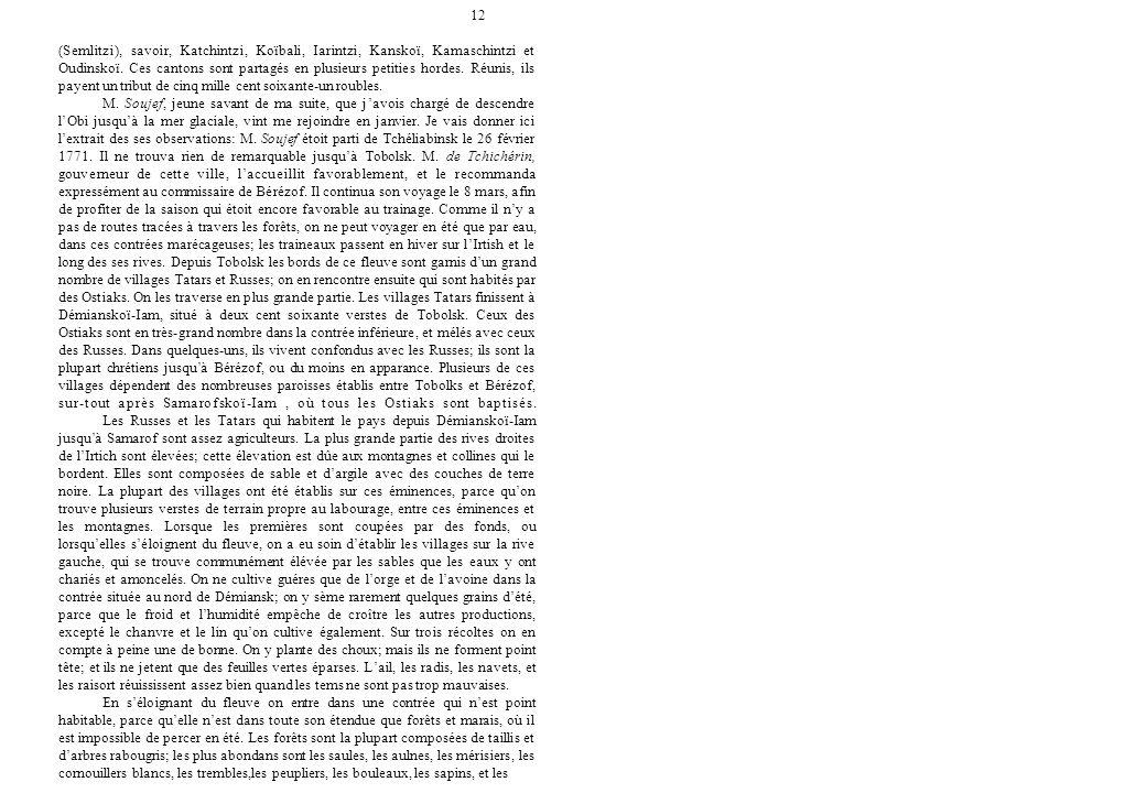 12 (Semlitzi), savoir, Katchintzi, Koïbali, Iarintzi, Kanskoï, Kamaschintzi et Oudinskoï. Ces cantons sont partagés en plusieurs petities hordes. Réun