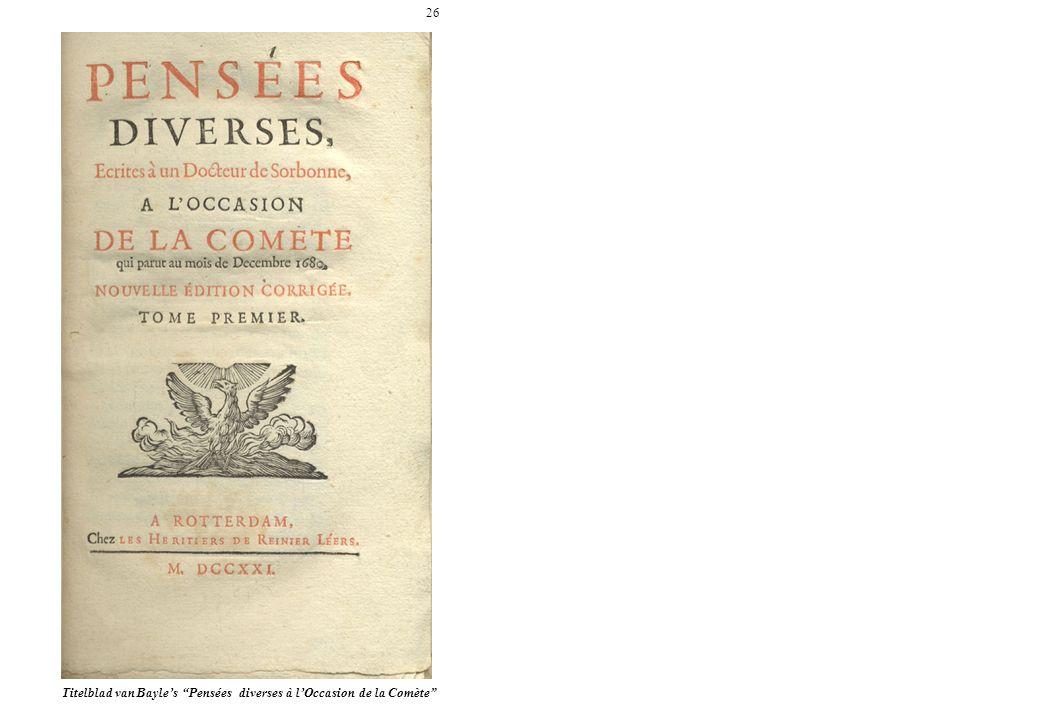 26 Titelblad van Bayles Pensées diverses à lOccasion de la Comète