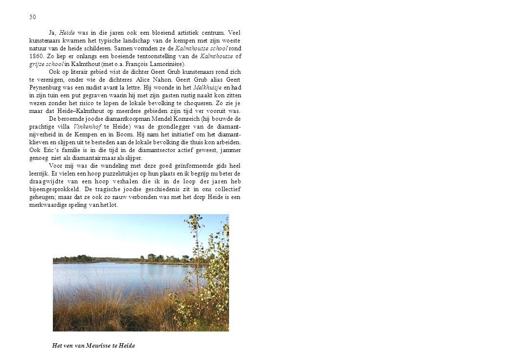 50 Ja, Heide was in die jaren ook een bloeiend artistiek centrum. Veel kunstenaars kwamen het typische landschap van de kempen met zijn woeste natuur