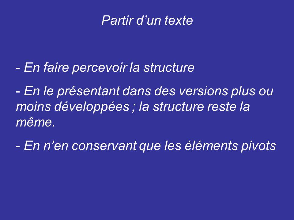 Partir dun texte - En faire percevoir la structure - En le présentant dans des versions plus ou moins développées ; la structure reste la même.