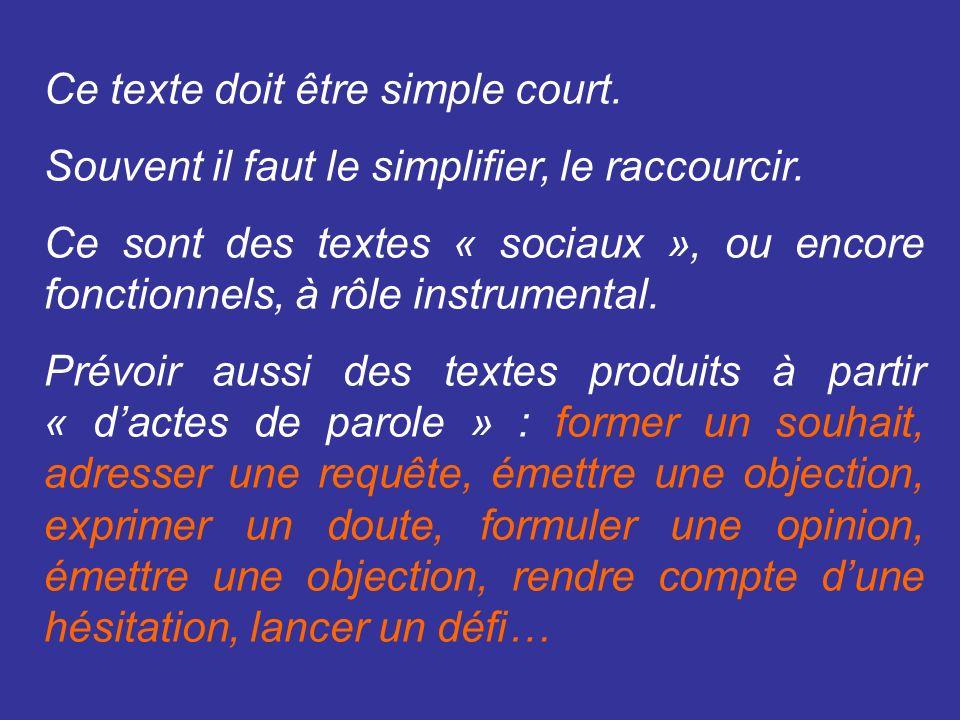 Ce texte doit être simple court. Souvent il faut le simplifier, le raccourcir.