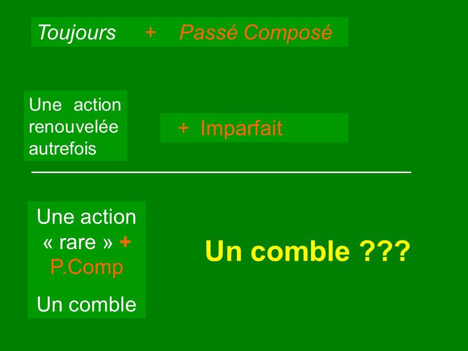 Toujours + Passé Composé Une action renouvelée autrefois + Imparfait Une action « rare » + P.Comp Un comble Un comble