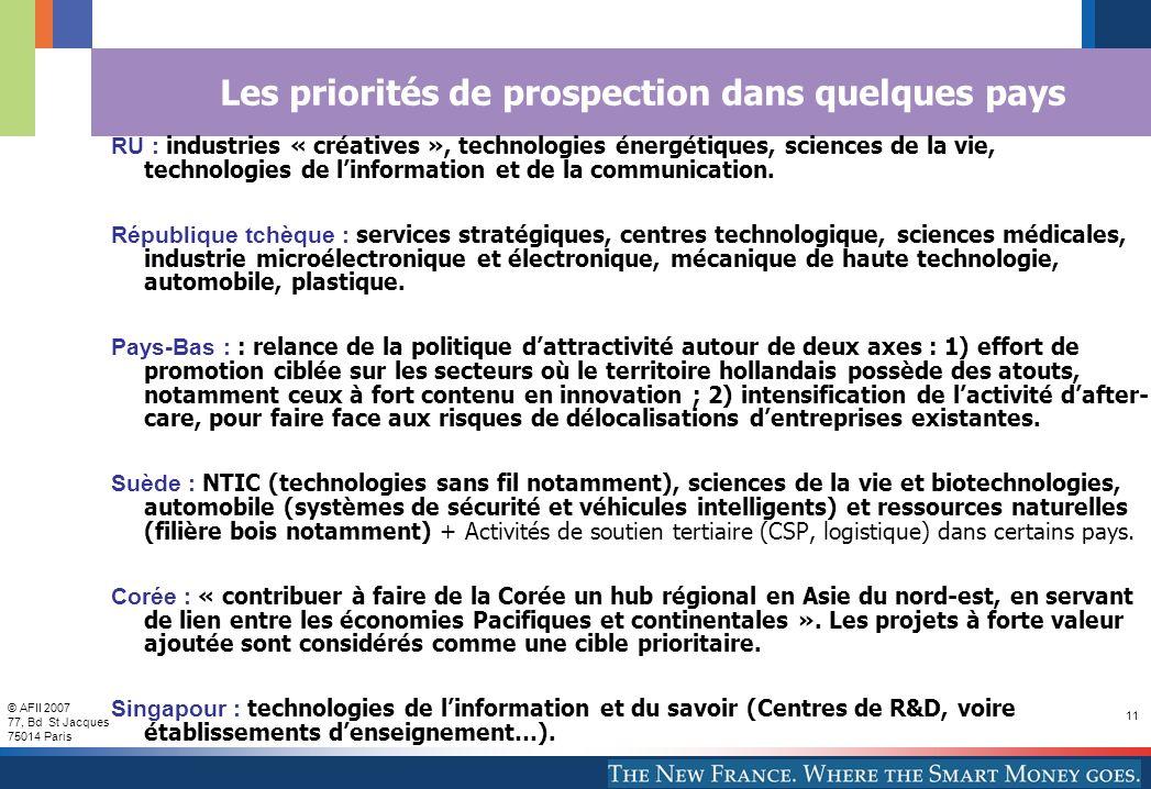 © AFII 2007 77, Bd St Jacques 75014 Paris 11 Les priorités de prospection dans quelques pays RU : industries « créatives », technologies énergétiques, sciences de la vie, technologies de linformation et de la communication.