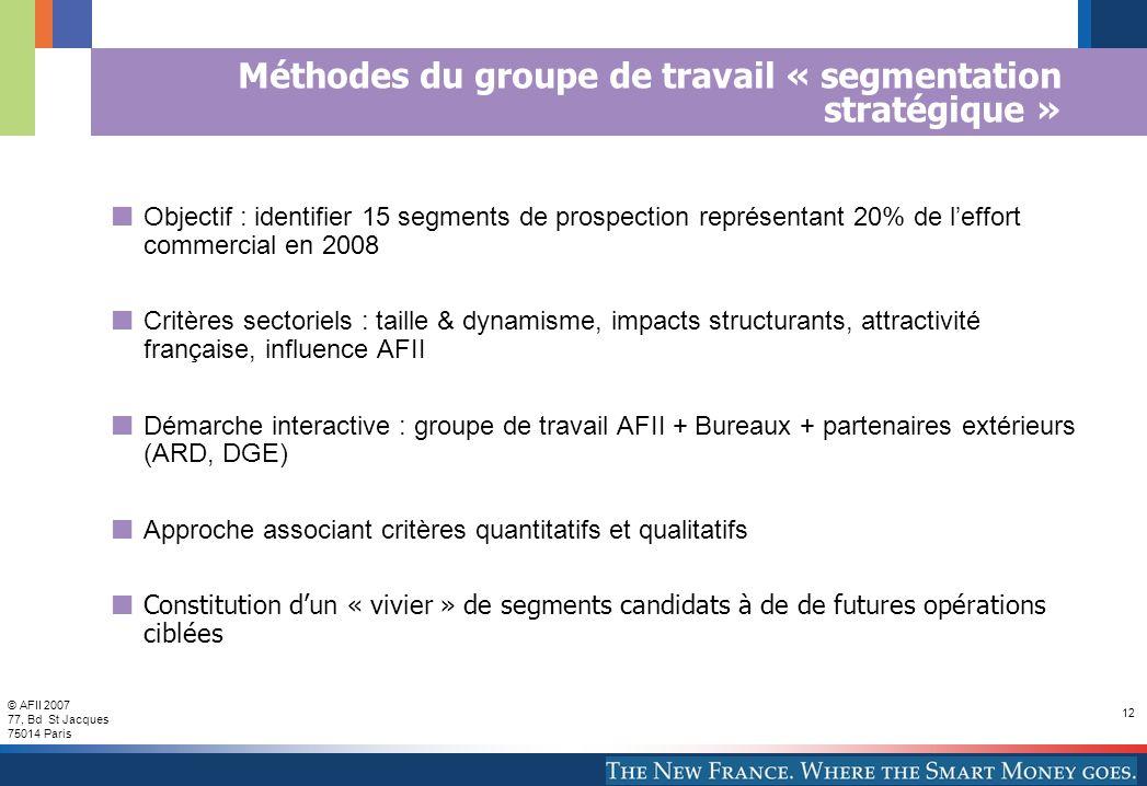© AFII 2007 77, Bd St Jacques 75014 Paris 12 Méthodes du groupe de travail « segmentation stratégique » Objectif : identifier 15 segments de prospecti