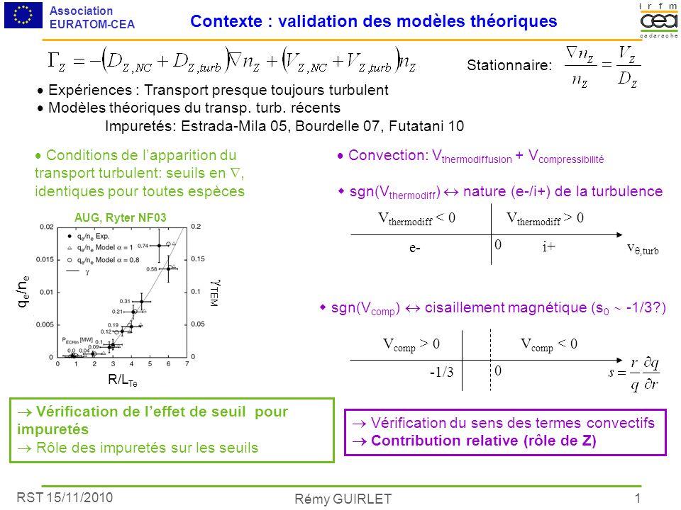 RST 15/11/2010 Association EURATOM-CEA Rémy GUIRLET irmf acacare dh 1 Contexte : validation des modèles théoriques Expériences : Transport presque tou