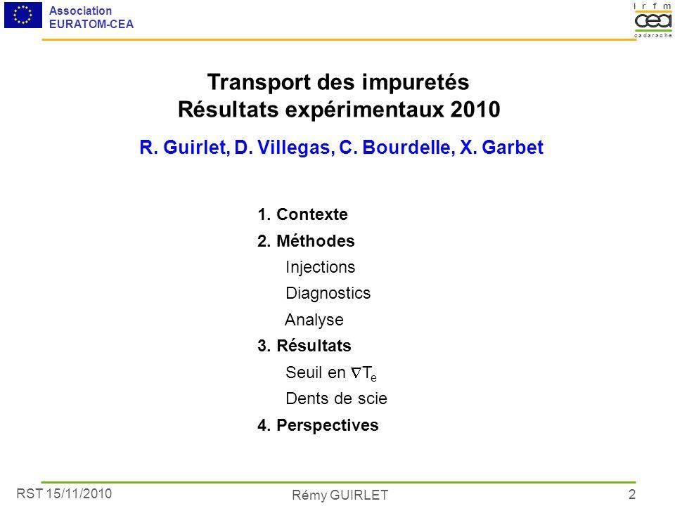 RST 15/11/2010 Association EURATOM-CEA Rémy GUIRLET irmf acacare dh 2 Transport des impuretés Résultats expérimentaux 2010 R. Guirlet, D. Villegas, C.