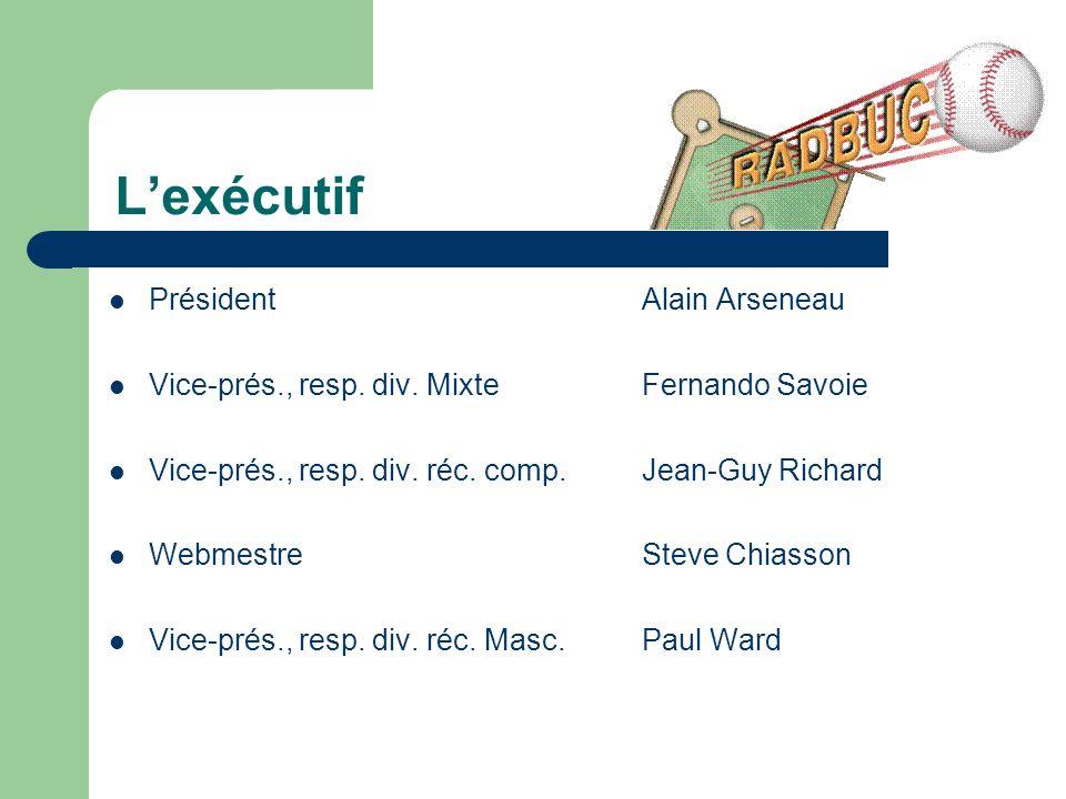 Lexécutif PrésidentAlain Arseneau Vice-prés., resp.