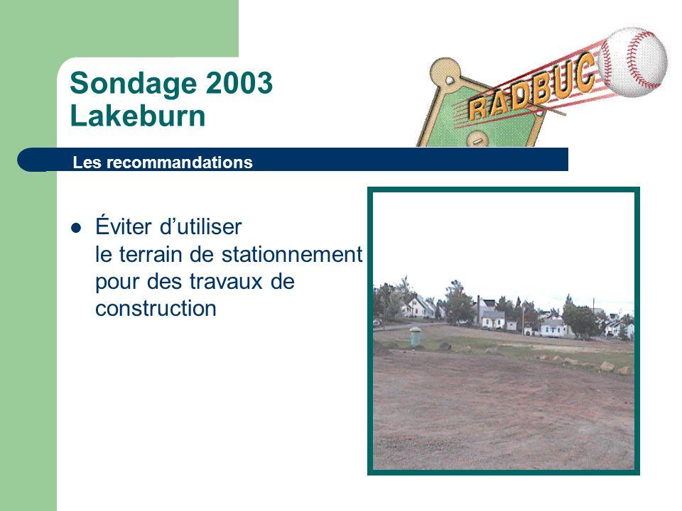 Sondage 2003 Lakeburn Éviter dutiliser le terrain de stationnement pour des travaux de construction Les recommandations