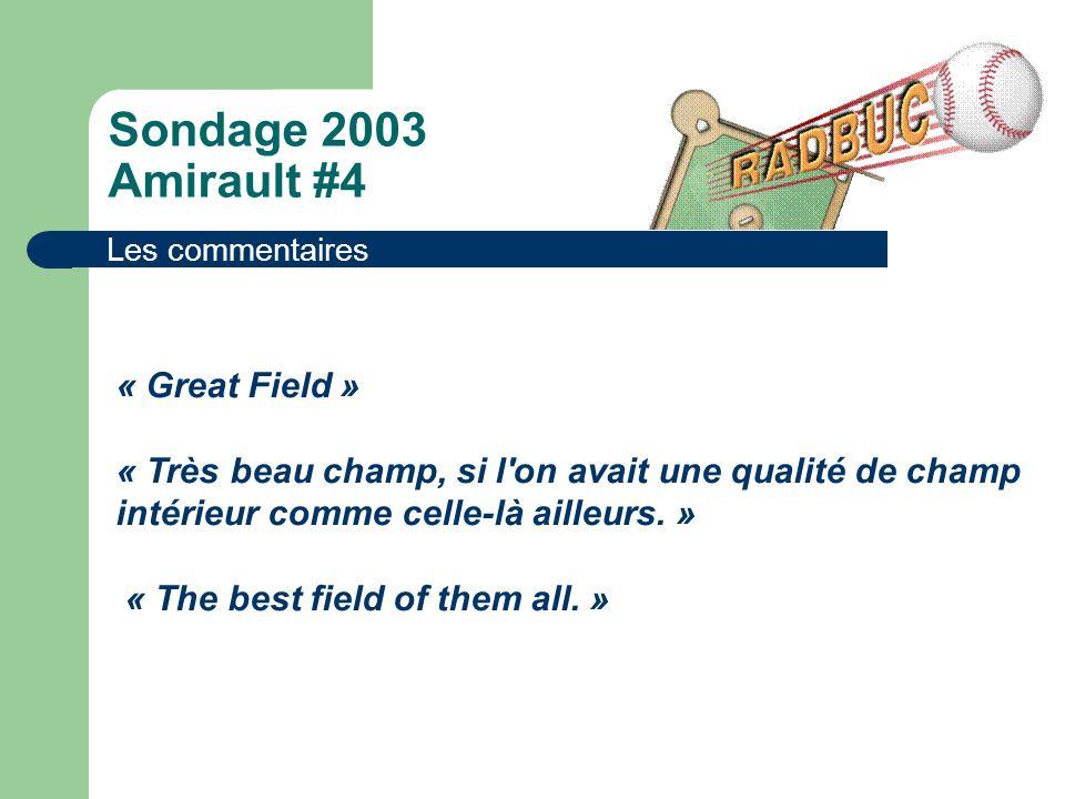 Sondage 2003 Amirault #4 Les commentaires « Great Field » « Très beau champ, si l on avait une qualité de champ intérieur comme celle-là ailleurs.