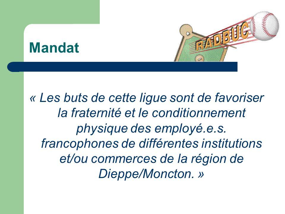 Mandat « Les buts de cette ligue sont de favoriser la fraternité et le conditionnement physique des employé.e.s.