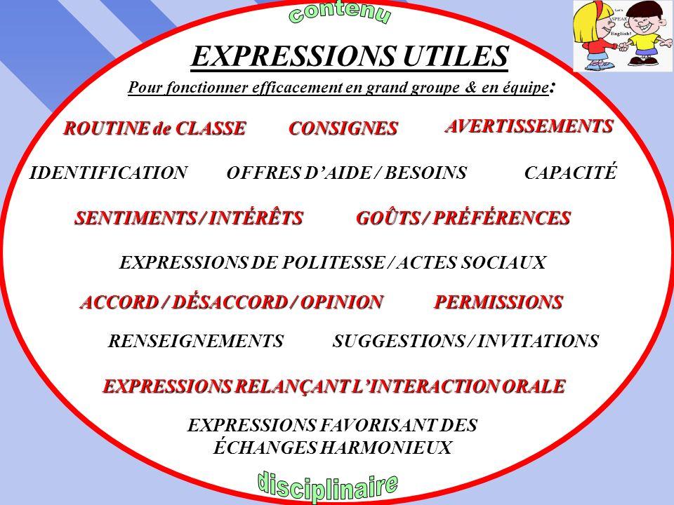 EXPRESSIONS pour GAGNER du TEMPS APPEL daide DEMANDE de CLARIFICATION de DÉPANNAGE MÉTACOGNITIVES attention dirigée auto-évaluation COGNITIVES pratiqu