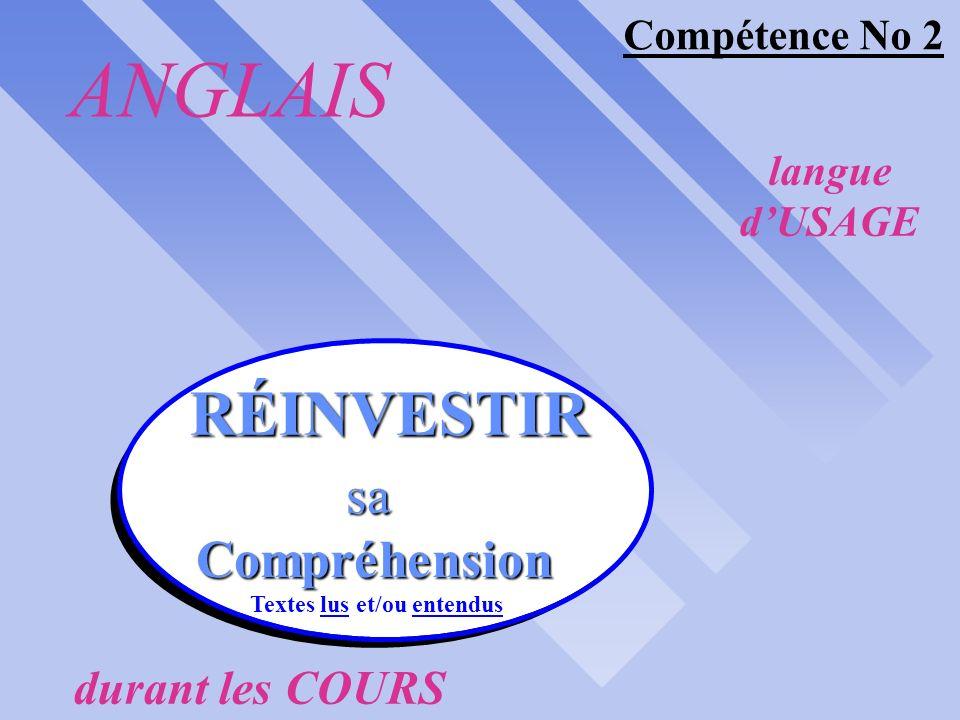 langue dUSAGE durant les COURS COMPÉTENCES synergiques #1 ANGLAIS