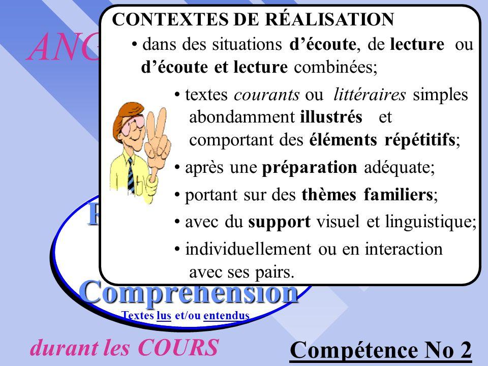 langue dUSAGE durant les COURS Compétence No 2 RÉINVESTIR RÉINVESTIR Textes lus et/ou entendus saCompréhension