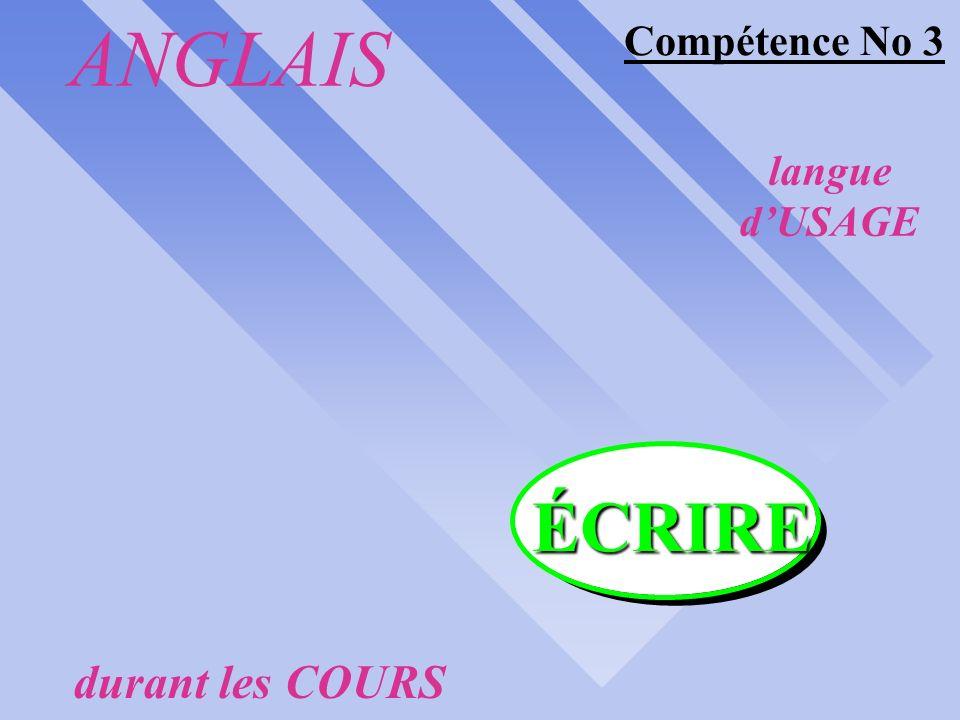 ANGLAIS langue dUSAGE durant les COURS COMPÉTENCES synergiques #1 #2