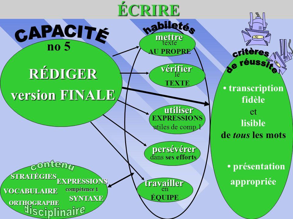 ÉCRIRE ÉCRIRE RÉVISER le TEXTE respect des consignes utilisatiion vocabulaire adéquat justesse de lorthographe avec outils de référence syntaxe applic