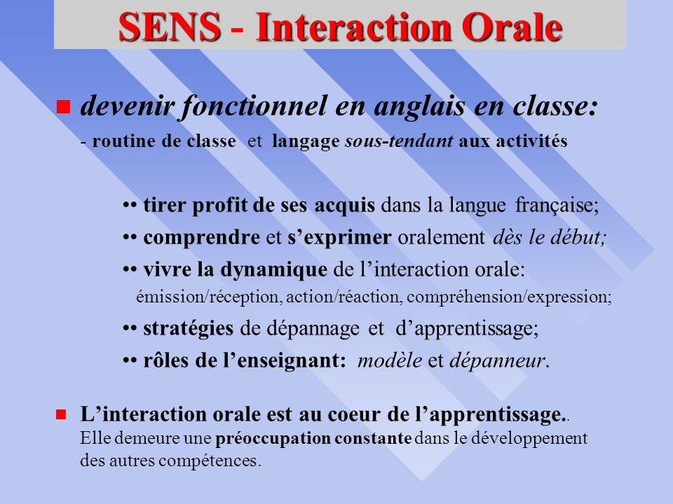 INTERAGIRoralement ANGLAIS langue dUSAGE durant les COURS Compétence No 1 CONTEXTES DE RÉALISATION avec ses pairs et lenseignant; dans des situations