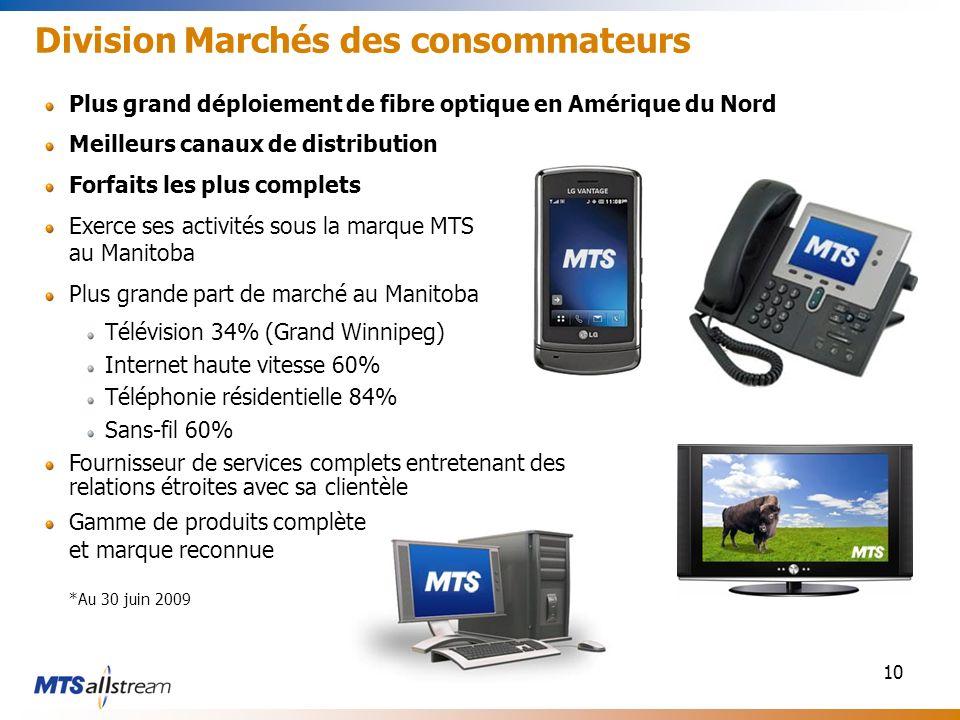 10 Division Marchés des consommateurs Plus grand déploiement de fibre optique en Amérique du Nord Meilleurs canaux de distribution Forfaits les plus c