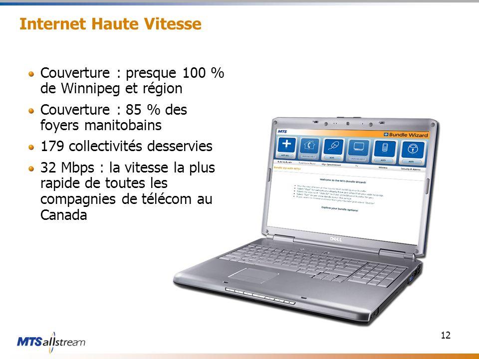 12 Internet Haute Vitesse Couverture : presque 100 % de Winnipeg et région Couverture : 85 % des foyers manitobains 179 collectivités desservies 32 Mbps : la vitesse la plus rapide de toutes les compagnies de télécom au Canada
