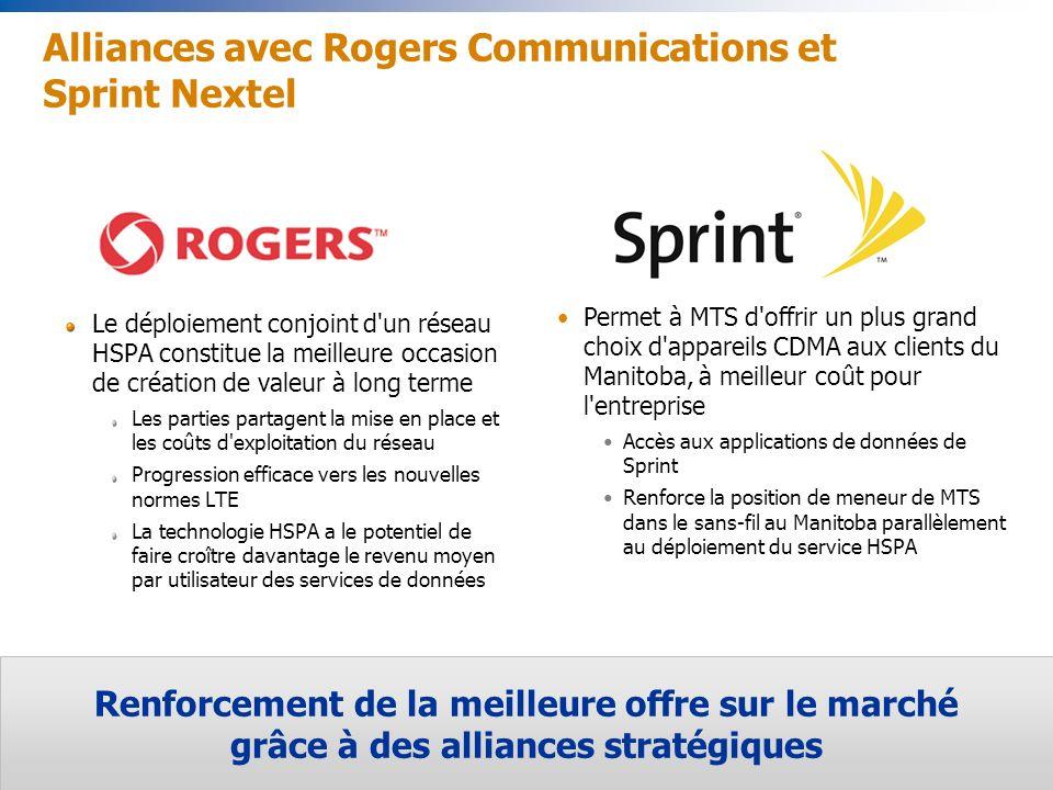 14 Renforcement de la meilleure offre sur le marché grâce à des alliances stratégiques Permet à MTS d offrir un plus grand choix d appareils CDMA aux clients du Manitoba, à meilleur coût pour l entreprise Accès aux applications de données de Sprint Renforce la position de meneur de MTS dans le sans-fil au Manitoba parallèlement au déploiement du service HSPA Alliances avec Rogers Communications et Sprint Nextel Le déploiement conjoint d un réseau HSPA constitue la meilleure occasion de création de valeur à long terme Les parties partagent la mise en place et les coûts d exploitation du réseau Progression efficace vers les nouvelles normes LTE La technologie HSPA a le potentiel de faire croître davantage le revenu moyen par utilisateur des services de données
