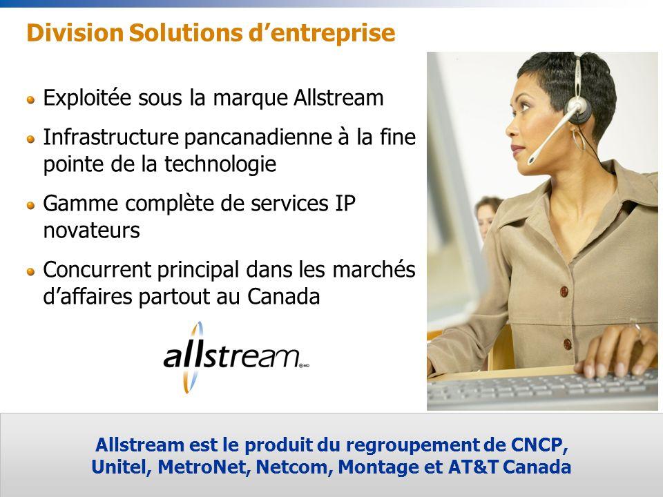 15 Division Solutions dentreprise Allstream est le produit du regroupement de CNCP, Unitel, MetroNet, Netcom, Montage et AT&T Canada Exploitée sous la marque Allstream Infrastructure pancanadienne à la fine pointe de la technologie Gamme complète de services IP novateurs Concurrent principal dans les marchés daffaires partout au Canada