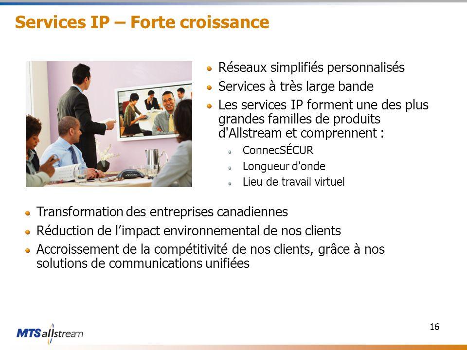 16 Services IP – Forte croissance Réseaux simplifiés personnalisés Services à très large bande Les services IP forment une des plus grandes familles d