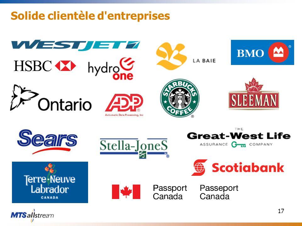 17 Solide clientèle d'entreprises