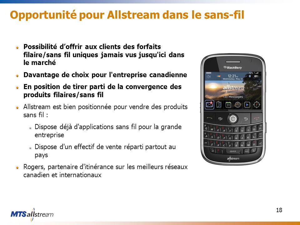 18 Opportunité pour Allstream dans le sans-fil Possibilité doffrir aux clients des forfaits filaire/sans fil uniques jamais vus jusqu'ici dans le marc