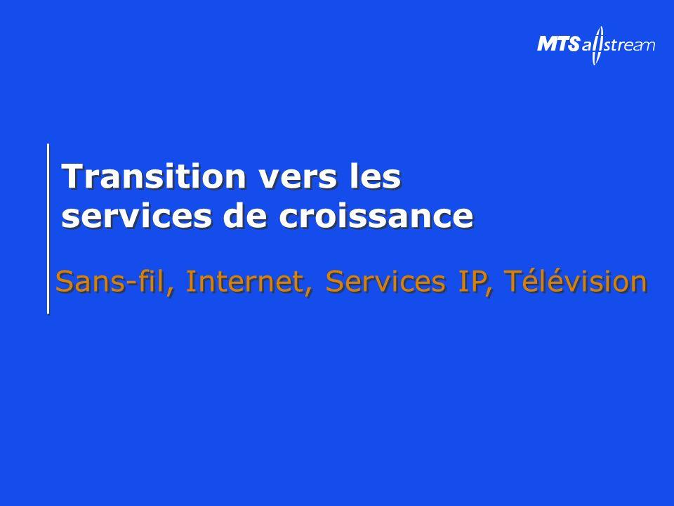 Transition vers les services de croissance Transition vers les services de croissance Sans-fil, Internet, Services IP, Télévision