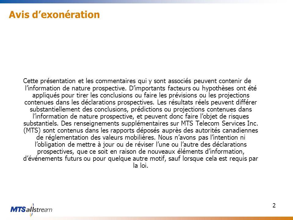 2 Avis dexonération Cette présentation et les commentaires qui y sont associés peuvent contenir de linformation de nature prospective. Dimportants fac