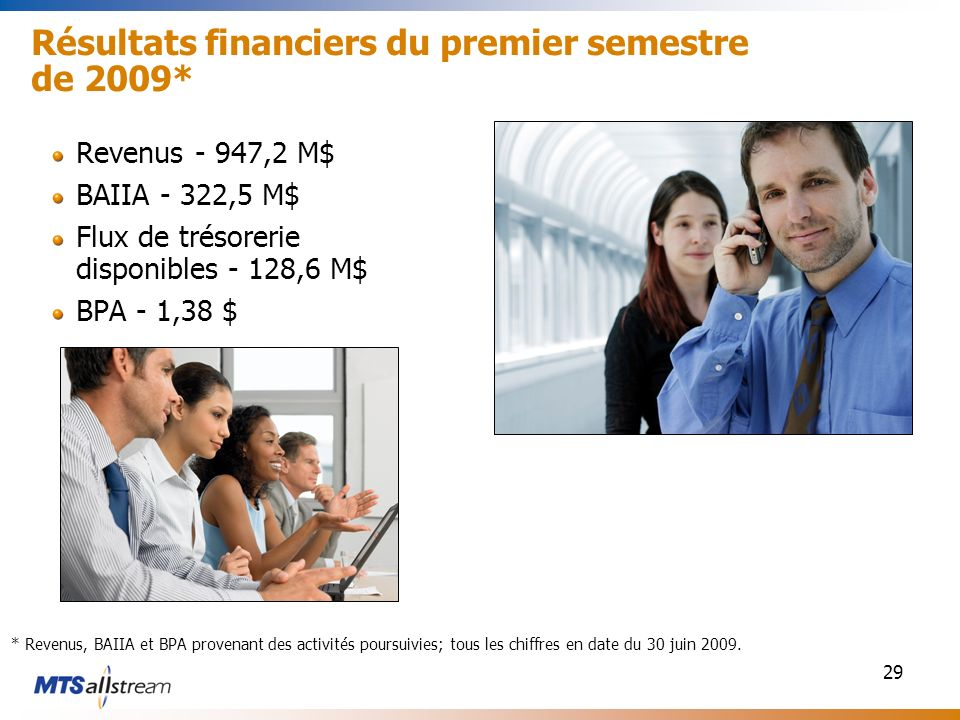 29 Résultats financiers du premier semestre de 2009* Revenus - 947,2 M$ BAIIA - 322,5 M$ Flux de trésorerie disponibles - 128,6 M$ BPA - 1,38 $ * Reve