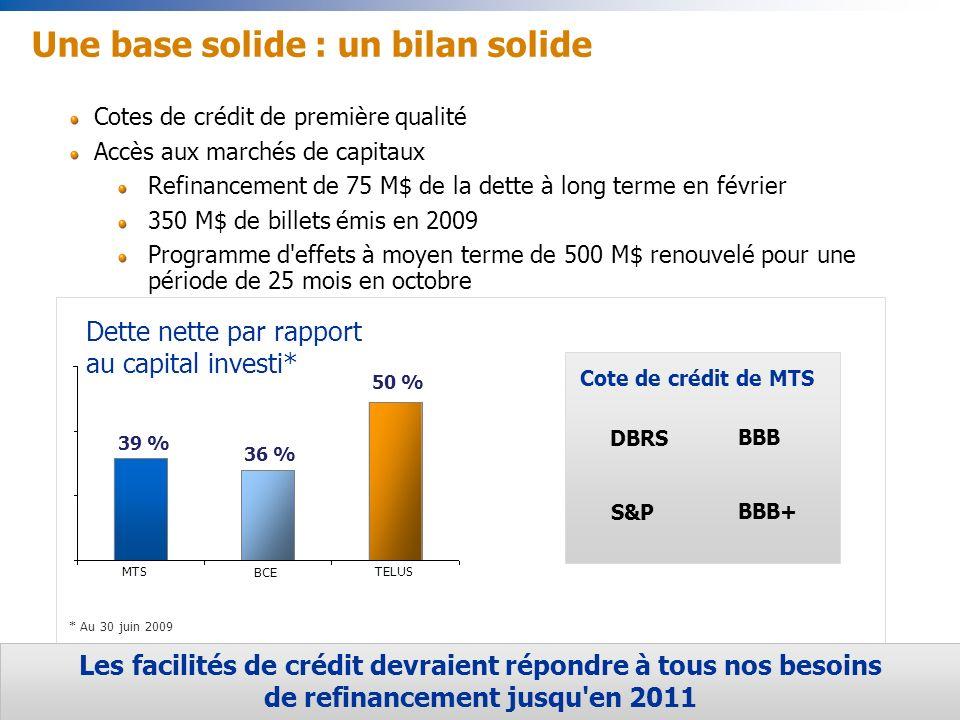 32 MTSTELUS BCE 39 % 36 % 50 % Cotes de crédit de première qualité Accès aux marchés de capitaux Refinancement de 75 M$ de la dette à long terme en février 350 M$ de billets émis en 2009 Programme d effets à moyen terme de 500 M$ renouvelé pour une période de 25 mois en octobre Une base solide : un bilan solide * Au 30 juin 2009 Les facilités de crédit devraient répondre à tous nos besoins de refinancement jusqu en 2011 Cote de crédit de MTS BBB BBB+ DBRS S&P Dette nette par rapport au capital investi*