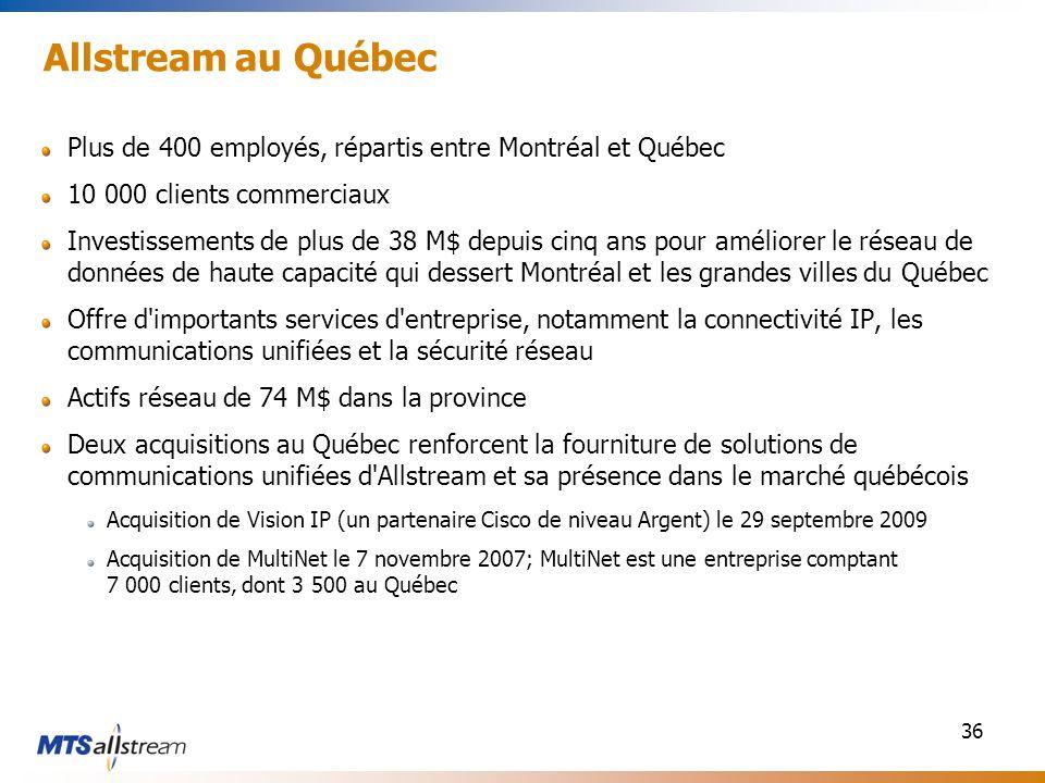 36 Allstream au Québec Plus de 400 employés, répartis entre Montréal et Québec 10 000 clients commerciaux Investissements de plus de 38 M$ depuis cinq ans pour améliorer le réseau de données de haute capacité qui dessert Montréal et les grandes villes du Québec Offre d importants services d entreprise, notamment la connectivité IP, les communications unifiées et la sécurité réseau Actifs réseau de 74 M$ dans la province Deux acquisitions au Québec renforcent la fourniture de solutions de communications unifiées d Allstream et sa présence dans le marché québécois Acquisition de Vision IP (un partenaire Cisco de niveau Argent) le 29 septembre 2009 Acquisition de MultiNet le 7 novembre 2007; MultiNet est une entreprise comptant 7 000 clients, dont 3 500 au Québec