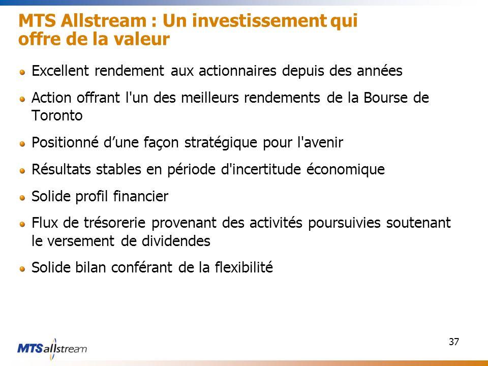 37 MTS Allstream : Un investissement qui offre de la valeur Excellent rendement aux actionnaires depuis des années Action offrant l'un des meilleurs r