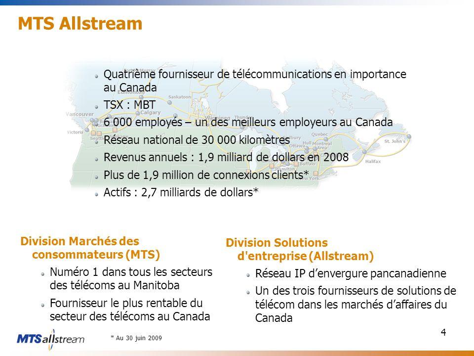 4 MTS Allstream Quatrième fournisseur de télécommunications en importance au Canada TSX : MBT 6 000 employés – un des meilleurs employeurs au Canada Réseau national de 30 000 kilomètres Revenus annuels : 1,9 milliard de dollars en 2008 Plus de 1,9 million de connexions clients* Actifs : 2,7 milliards de dollars* Division Marchés des consommateurs (MTS) Numéro 1 dans tous les secteurs des télécoms au Manitoba Fournisseur le plus rentable du secteur des télécoms au Canada Division Solutions d entreprise (Allstream) Réseau IP denvergure pancanadienne Un des trois fournisseurs de solutions de télécom dans les marchés daffaires du Canada * Au 30 juin 2009