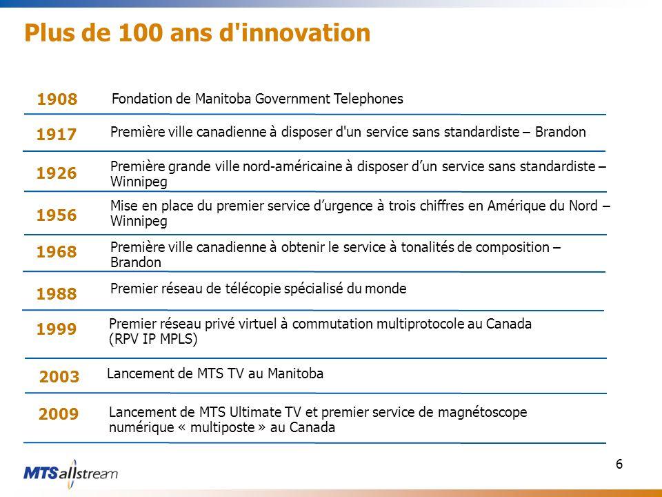 6 Plus de 100 ans d'innovation 1917 Première ville canadienne à disposer d'un service sans standardiste – Brandon Première grande ville nord-américain