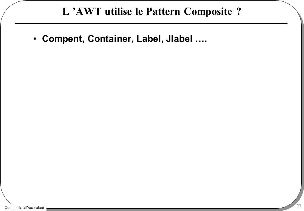 Composite et Décorateur 11 L AWT utilise le Pattern Composite ? Compent, Container, Label, Jlabel ….
